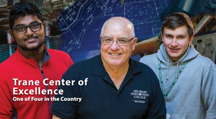 Cropped cover of the 2016 Delaware Tech magazine featuring two energy students and an instructor