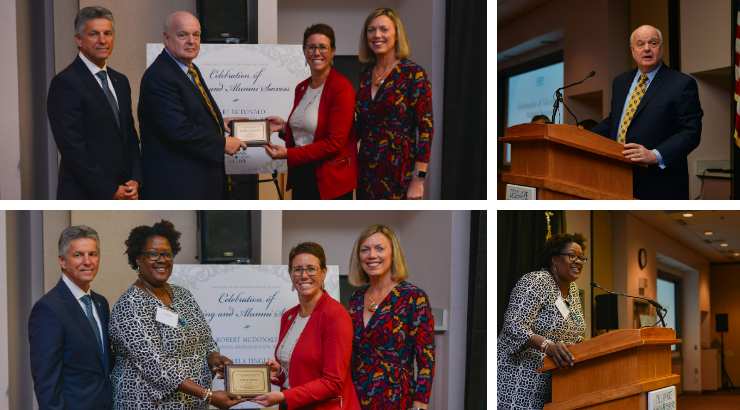 A collage of different happenings at the Distinguished Alumni ceremony