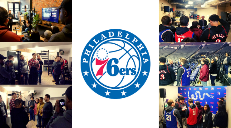 A collage of communications students at the 76ers offices