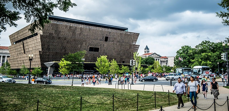 Visitors around the National Museum of African American History and Culture
