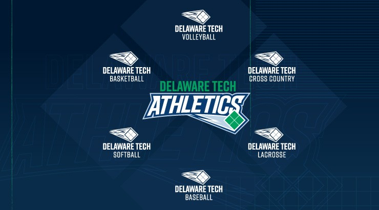 All the individual Delaware Tech athletics logos for each sport forming a circle around the main Delaware Tech Athletics logo