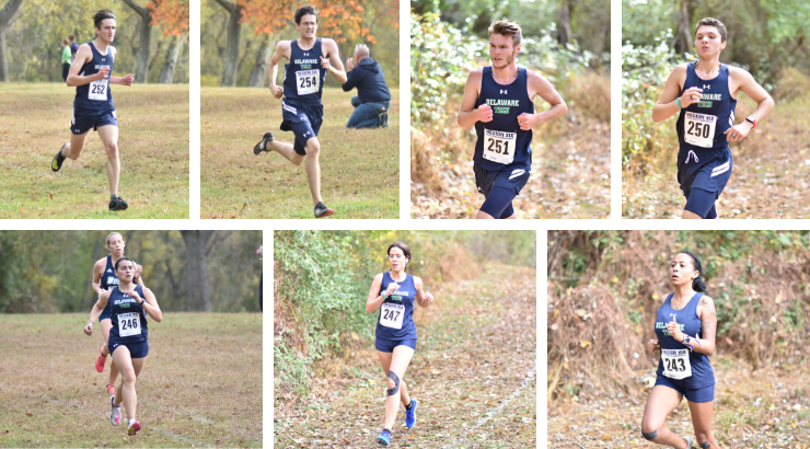 A collage of members of the cross country team running