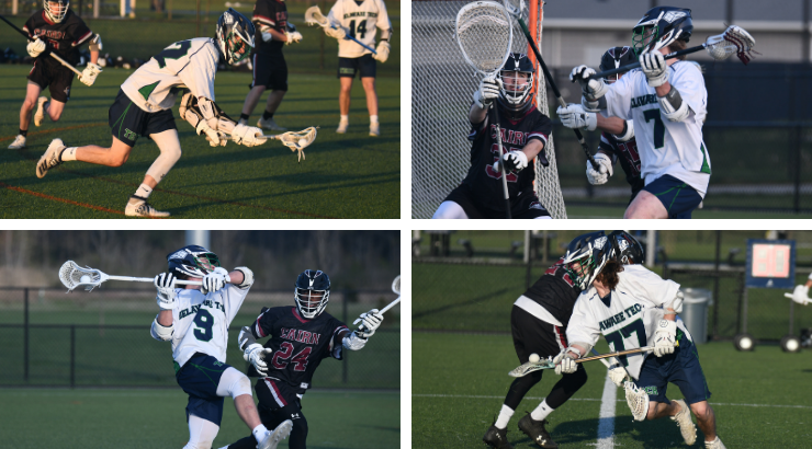 Sean Hinchey, Conor Christie, Matt Kracyla, and Louis Savino playing in various lacrosse games