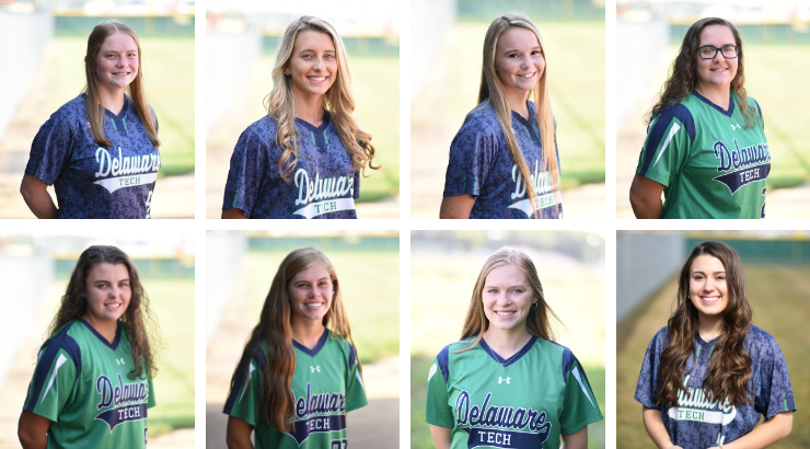 A collage of Delaware Tech Softball players