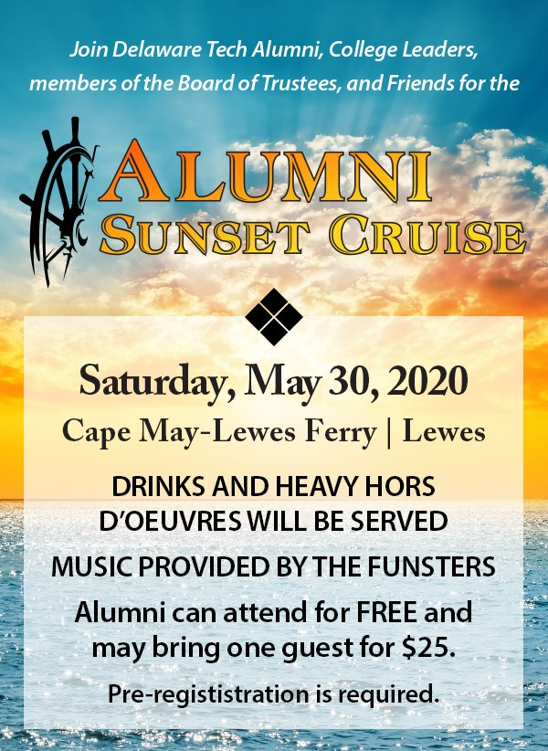 Link to Alumni Sunset Cruise. Saturday, May 30, 2020 Cape May-Lewes Ferry, Lewes. Learn more.
