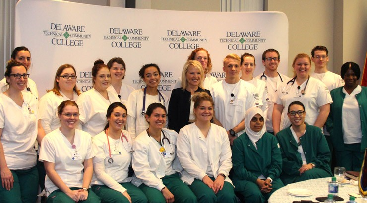 Lt. Governor Bethany Hall-Long with some of Delaware Tech's nursing students.