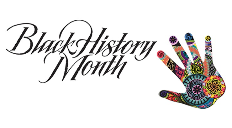 The words Black History Month in a script font with a colorful hand graphic at the bottom right