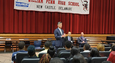 Dr. Mark T. Brainard joined Governor Jack Markell and Secretary of Education Mark Murphy at William Penn High School