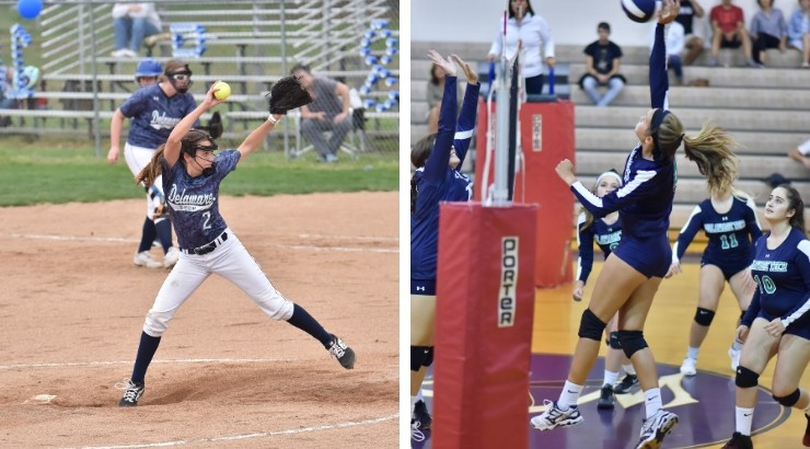 Two photos of Camryn playing sports for Delaware Tech. She is pitching a softball on the left and jumping to hit a volleyball on the right.