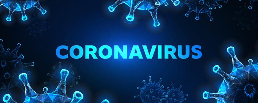 Glowing low polygonal coronavirus cells banner on dark blue background.