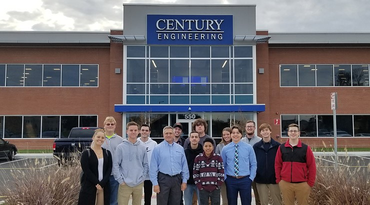 Delaware Tech architecture and civil engineering technology students on their tour of Century Engineering.