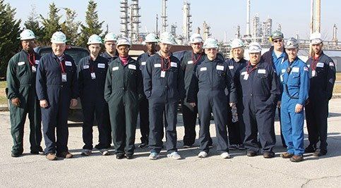 A dozen Chemical Process Operator (CPO) students see firsthand what they are learning in class during an exclusive, behind-the-scenes tour of the Delaware City Refinery.
