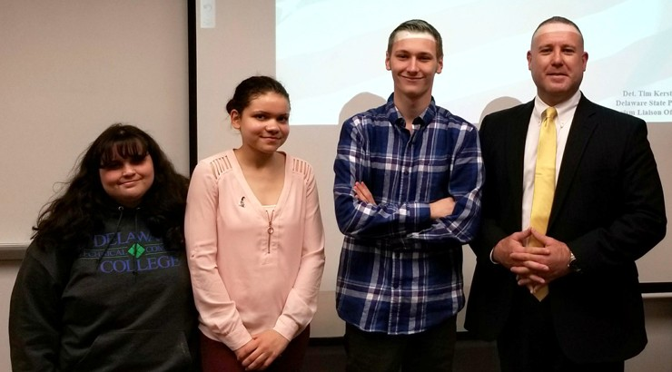 Criminal Justice and Homeland Security Club members with Detective Kerstetter