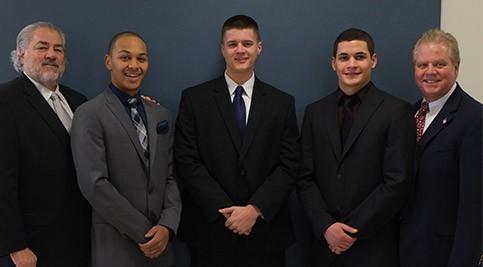 Left to right: Jack Corrozi, Chairman of the Delaware Police Chiefs' Foundation; Hunter Bordley; Scott Gailbreath, Jr.; Louis Casapulla; Michael Terranova, Instructional Director, Delaware Tech