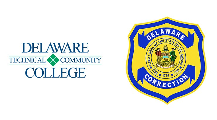 Delaware Tech logo and Department of Correction logo