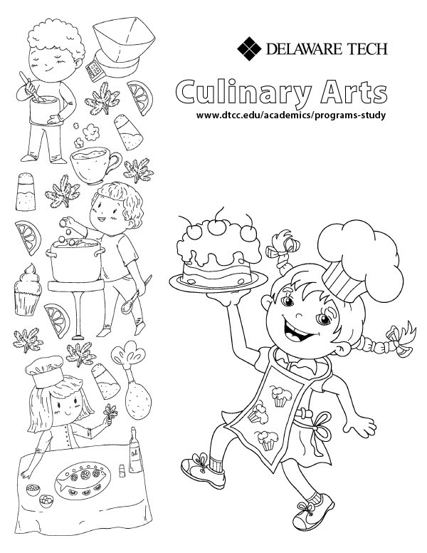 Delaware Tech culinary coloring page link.