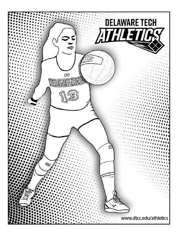 Delaware Tech volleyball coloring page link.