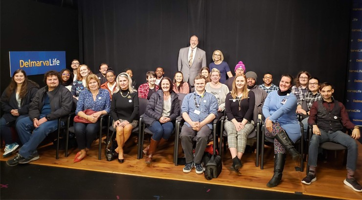 A group of Communications students, teachers, and WBOC employees at the WBOC station in Salisbury, Maryland