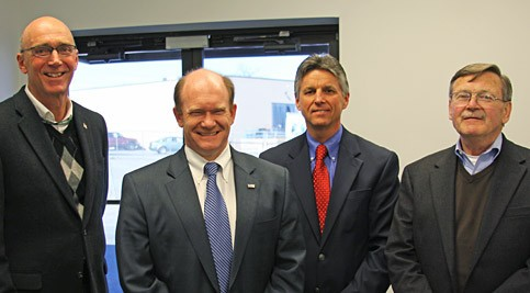 ITC Department Chair Tom McCarthy, Senator Chris Coons, Vice President & Campus Director Mark Brainard, and DEMEP Executive Director Steve Quindlen