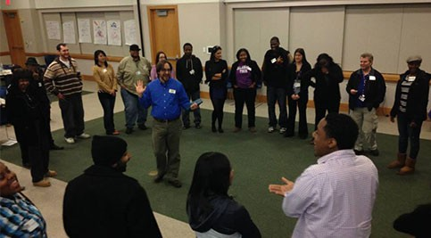 Students participating in Certified Peer Educators training
