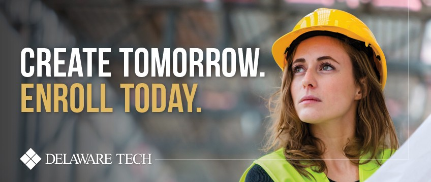"A woman in a hard hat with the words ""Create Tomorrow Enroll Today"" superimposed over the image"