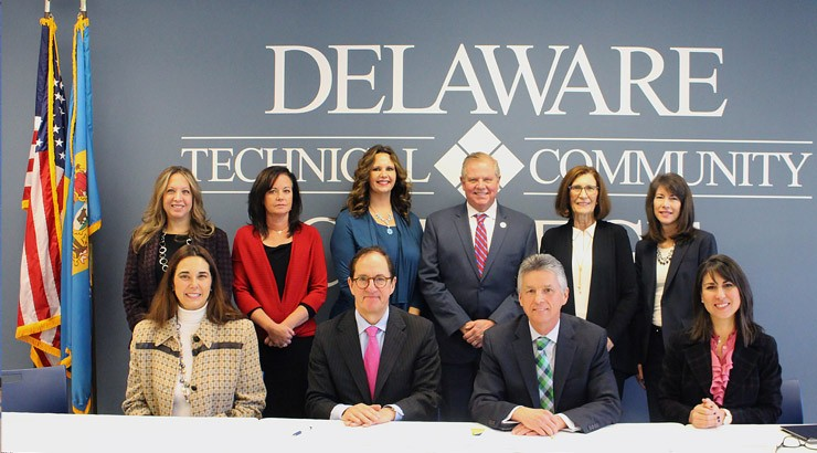 Members of Delaware Tech and Widener University Delaware Law School at official agreement signing.