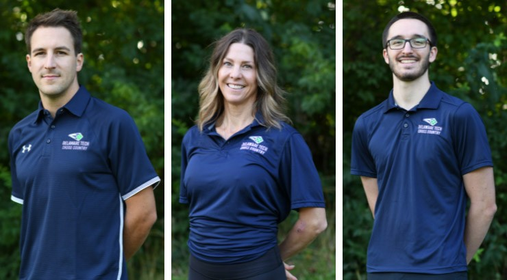 This year's coaching staff for Delaware Tech's men's and women's cross country program is, from left, Mike O'Brian, Maria Lucey, and Logan Hallee.