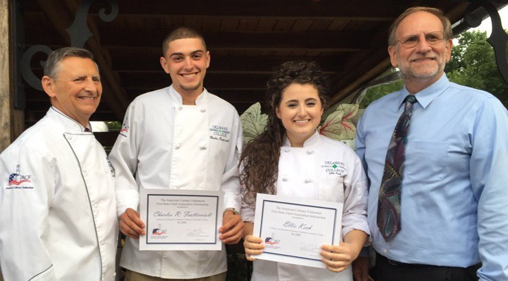 From right, Ed Hennessy, Culinary Arts Instructional Director; Charles Fratticcioli; Ellie Keck; and David Nolker, President of the American Culinary Federation First State Chef's Association.