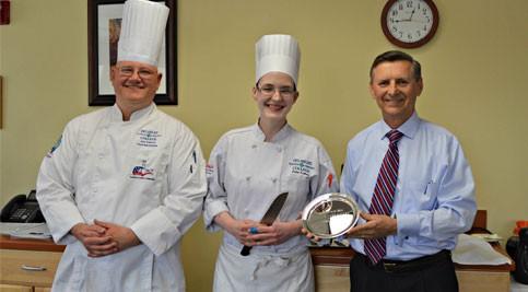 Chef Joe Sakers, culinary arts instructor, Erin Esken and Chef Ed Hennessy, culinary arts instructional director