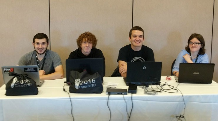 Terry Campus students (from left) Maxwell Sayers, Wesley Vinton, Alex Reuben and Hannah Curran at CyberSEED.