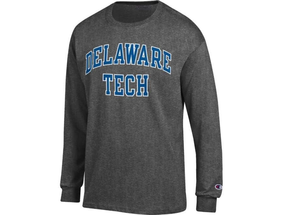Delaware Tech Long Sleeved Shirt - Gray with Blue Text