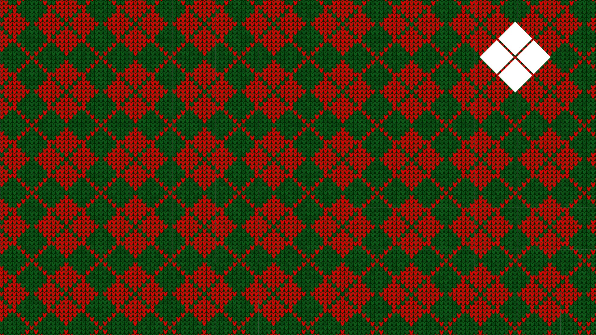 A red and green diamond sweater texture with the Delaware Tech logo at the top right