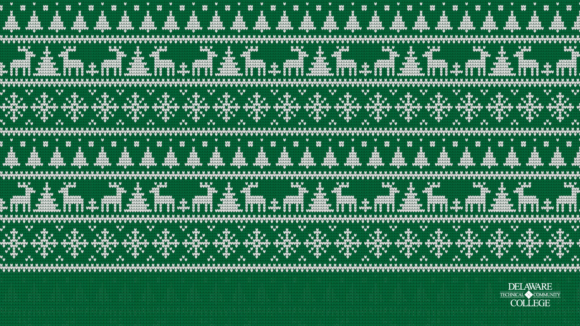 Green and white reindeer sweater texture with the Delaware Tech logo at the bottom right