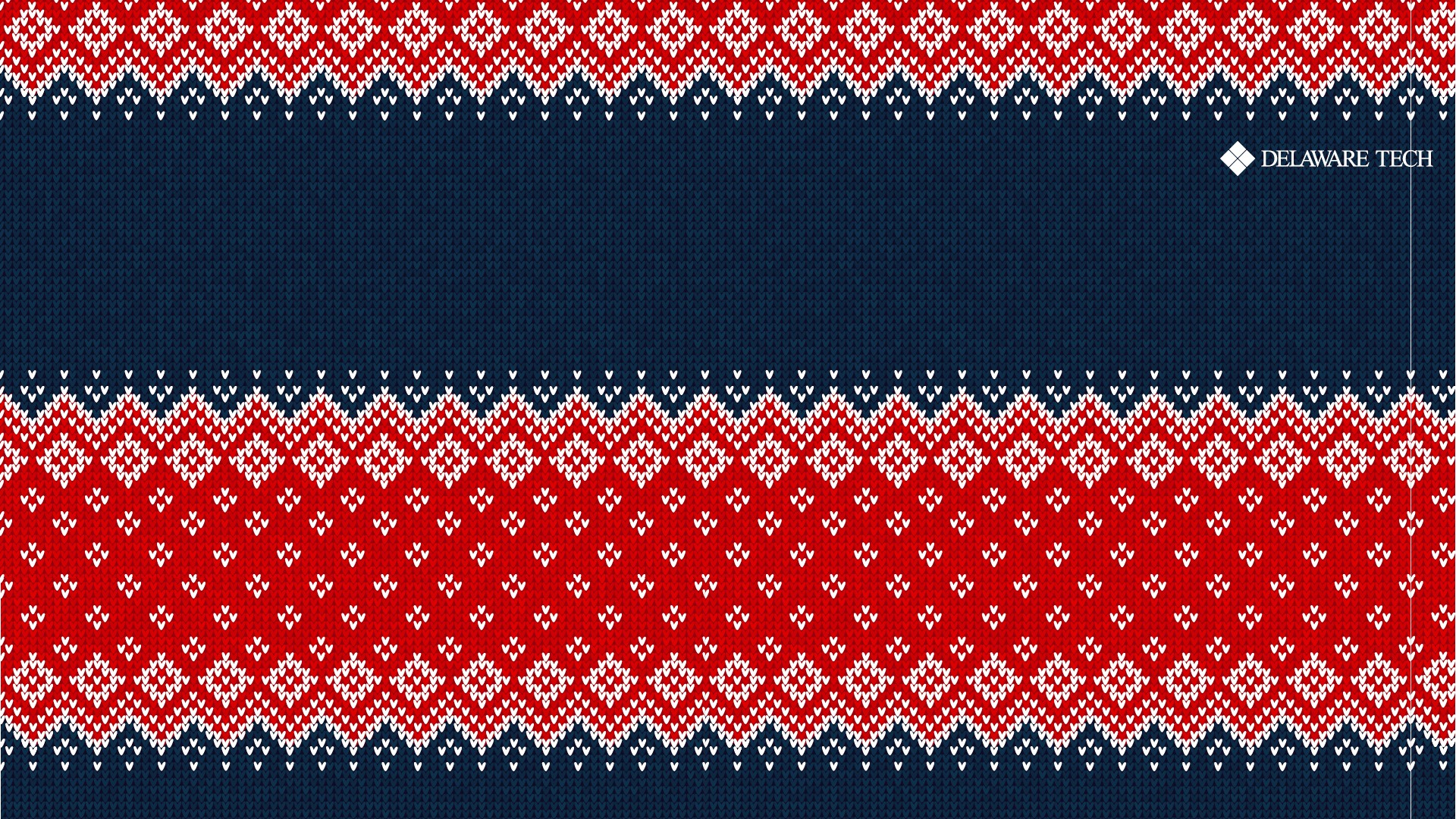 A red and blue sweater texture with the Delaware Tech logo at the top right
