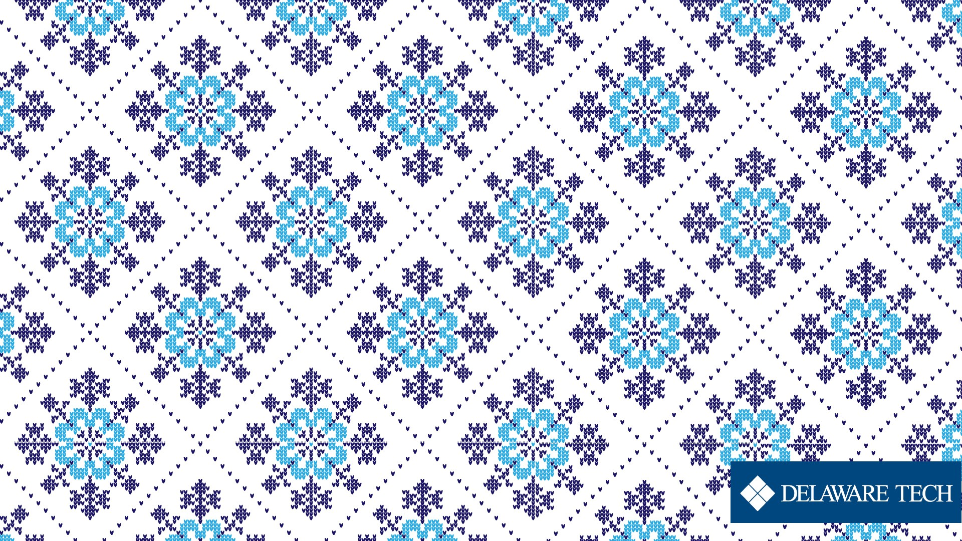 A blue and white snowflake patterned sweater texture images with the Delaware Tech logo at the bottom right