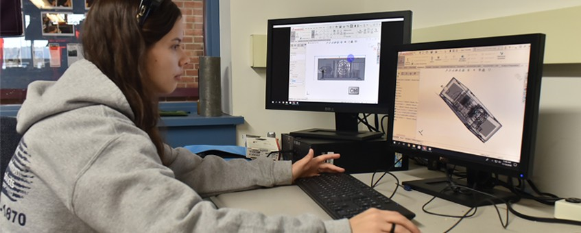 Design Engineering student working on a computer-based assignment
