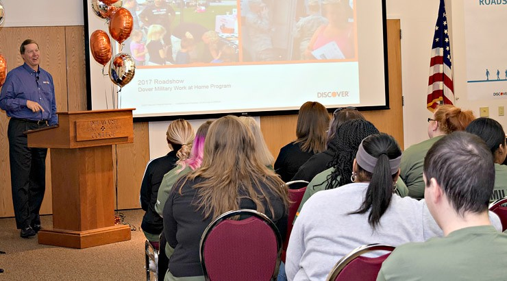 David  Nelms, Chairman and CEO of Discover, addresses a group of employees.
