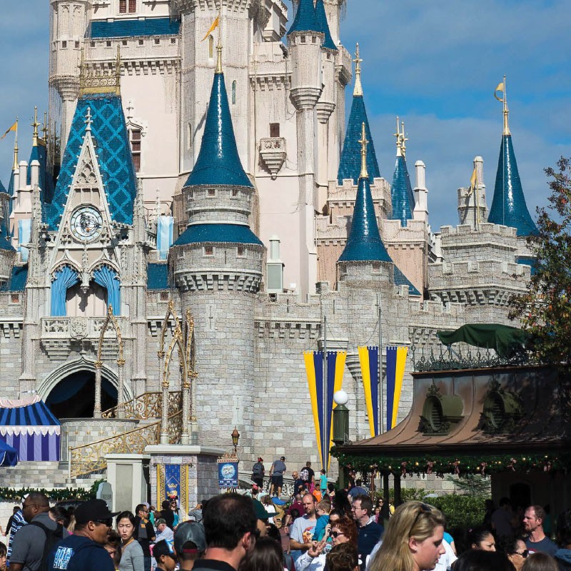 Disney Castle with visitors.