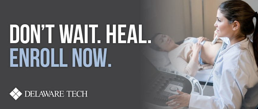 Don't Wait. Heal.  Link to landing page - enroll now. Nursing student with patient.