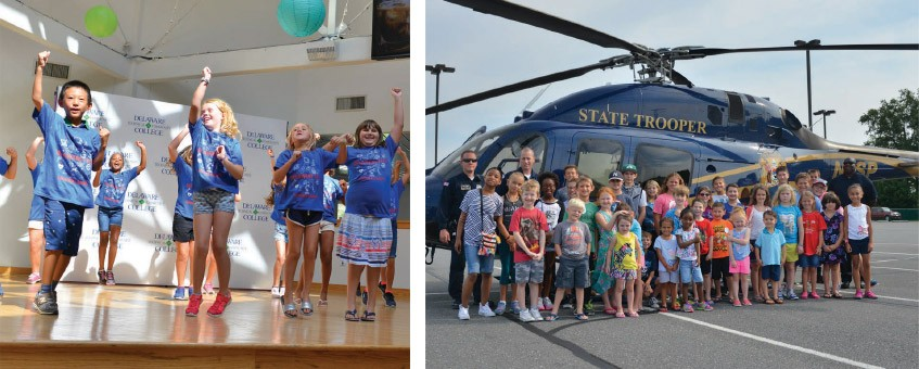 Youth camp students dance. Another group visit with the state trooper helicopter.