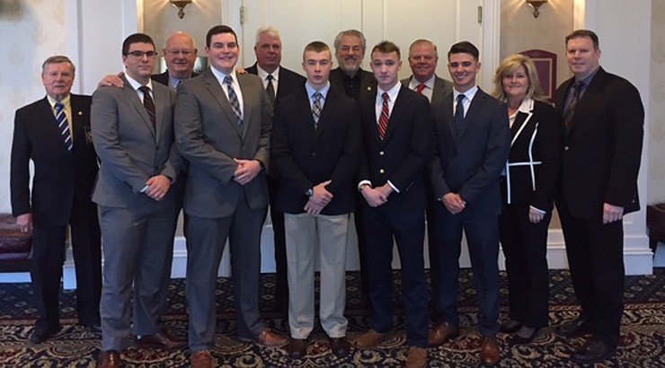 Pictured are student scholarship winners, along with Angie Shockley, Bill Alexander, Michael Terranova, and members of the Police Chiefs' Foundation.