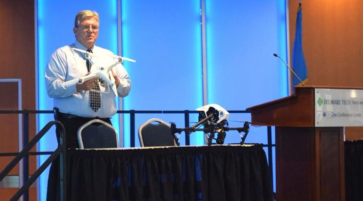Dwayne Day of DelDOT presenting drones