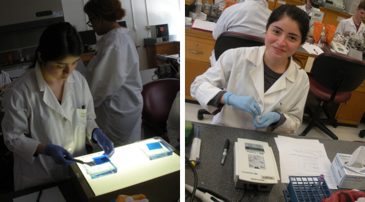 Medical Laboratory Technician alumna Magdalena Martinez-Villegas in a lab setting