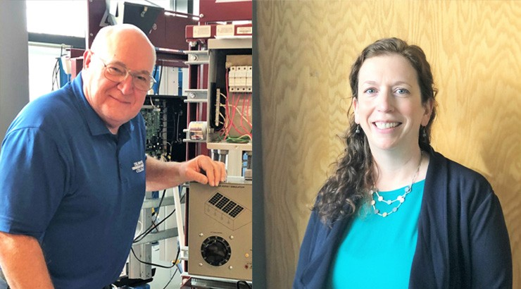 Energy Technologies Instructor James Horst (left) and Department Chair Dr. Jennifer Clemons were highlighted in an Innovative Ideas in Teaching Practices spotlight supported by the Center for Renewable Energy Advanced Technological Education (CREATE).