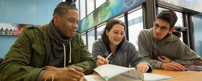 Entrepreneurship certificate students working together.