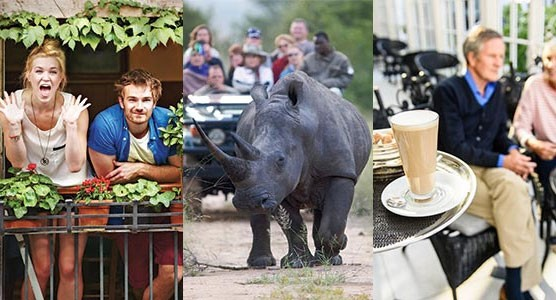 Extraordinary Vacations couple on balcony, tour group viewing Rhino and Couple be served at dinner