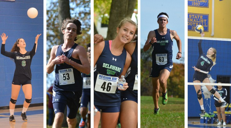 The five Delaware Tech athletes who receiving all-region honors