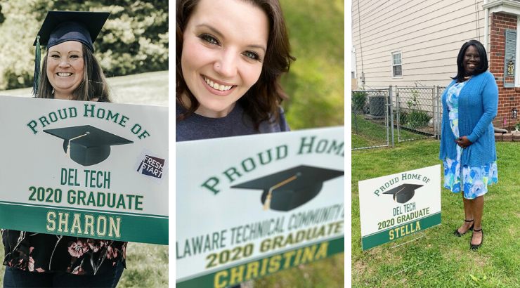 "A collage of Stella Harrison, Christina Salvato, and Sharon Toohey each standing outside with their lawn signs that say ""Proud Home of Del Tech 2020 Graduate"""