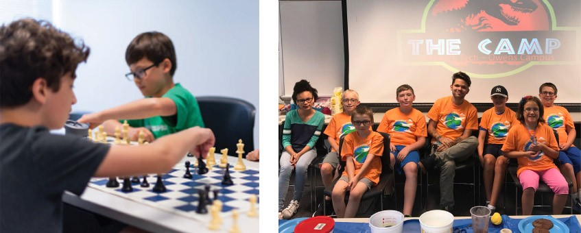 Youth camp students play chess and participate in a Jurassic Camp.