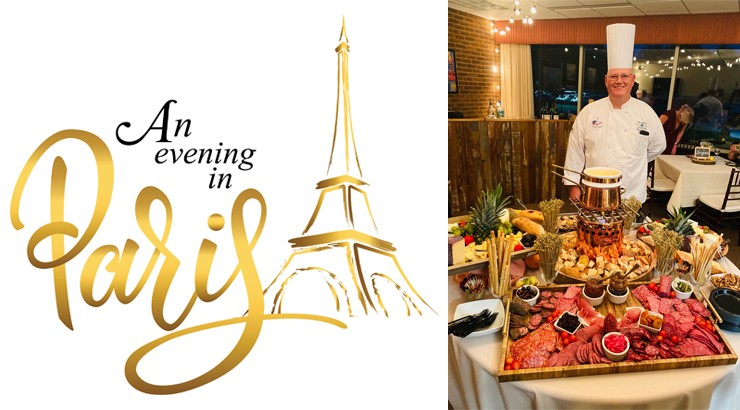 The An Evening In Paris logo beside an image of Chef Joe standing in his chef uniform behind a table full of meats and cheeses
